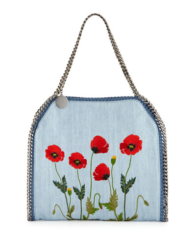 Falabella Denim Botanical Small Tote, Denim