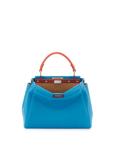 Peekaboo Mini Satchel Bag, Blue