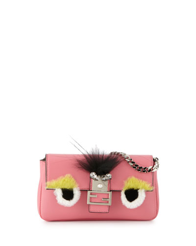 Baguette Micro Bag Bugs Crossbody Bag, Fluo Pink/Multi