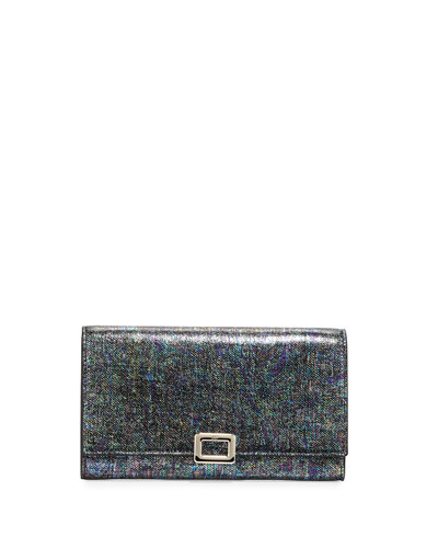 Iridescent Mini Buckle Wallet-on-Chain, Black