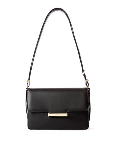 Diane Leather Small Flap Shoulder Bag, Black
