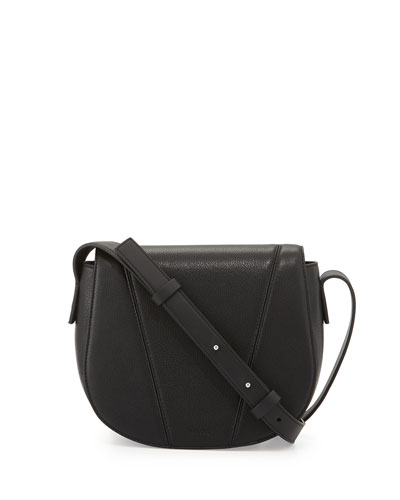 Modern V Small Leather Crossbody Bag, Black