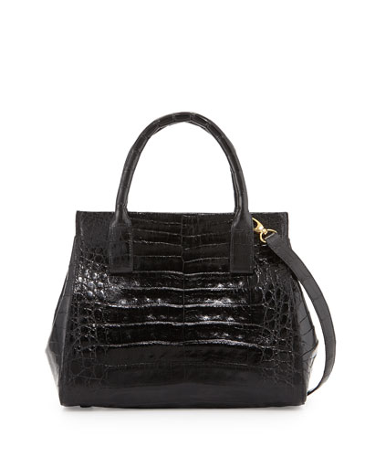 Loop Crocodile Small Satchel Bag, Black Shiny