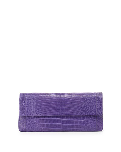 Gotham Crocodile Clutch Bag, Purple Matte