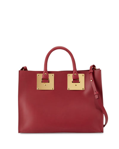 Albion Soft East-West Tote Bag, Berry