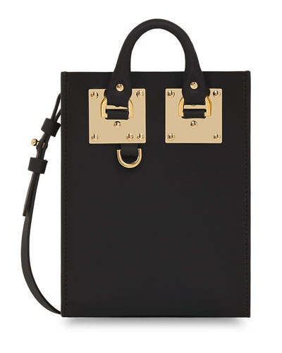 Nano Albion Leather Crossbody Bag, Black