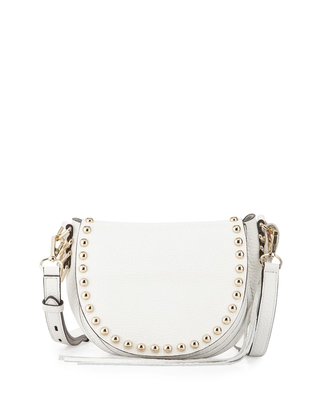Pebbled Leather Studded Saddle Bag, White