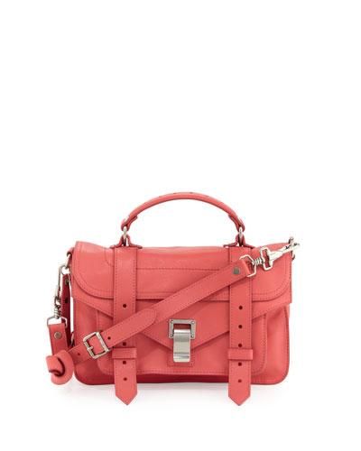 PS1 Mini Leather Satchel Bag, Hibiscus