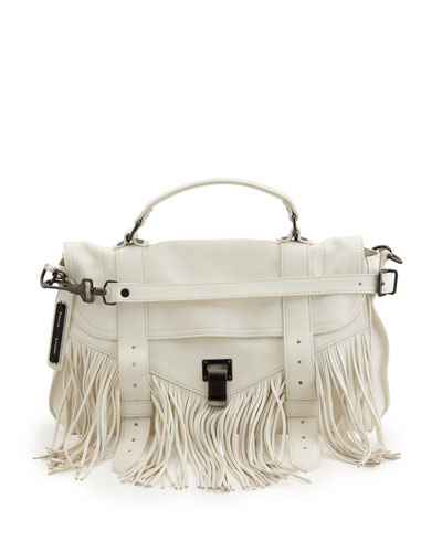 PS1 Medium Fringe Satchel Bag, White