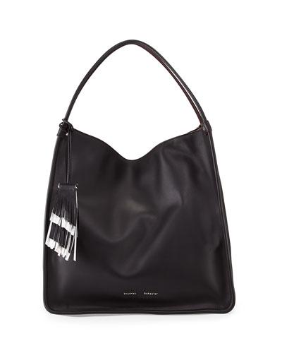 Large Soft Calfskin Tote Bag, Black