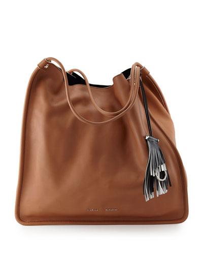 Large Soft Calfskin Tote Bag, Dune
