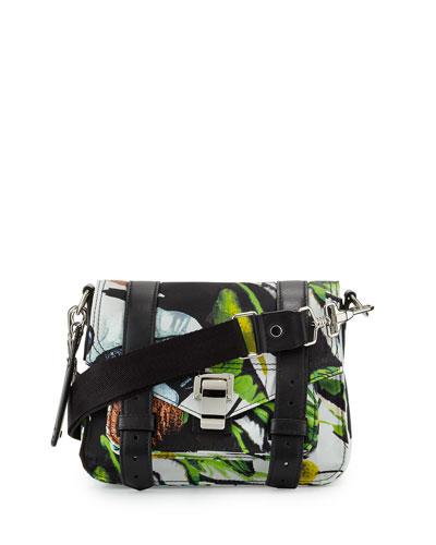 PS1 Nylon Tropical-Print Pouch Bag, Ecru/Multi