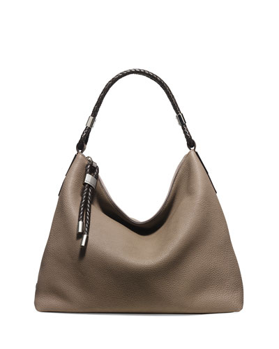 Skorpios Woven-Trim Hobo Bag, Dark Taupe