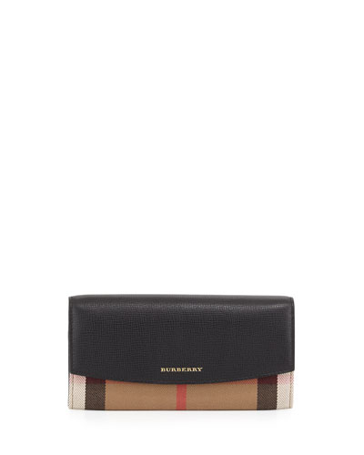Porter Horseferry Check Leather Flap Wallet, Black