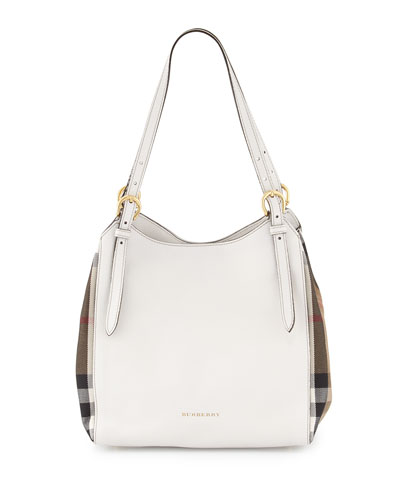 Canterbury Small Leather/Check Tote Bag, Natural White