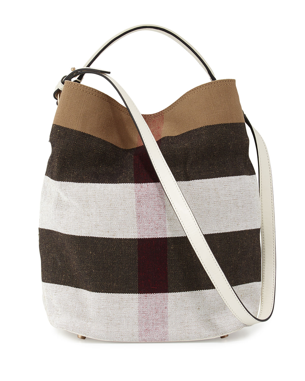 Ashby Medium Mega Check Bucket Bag, White