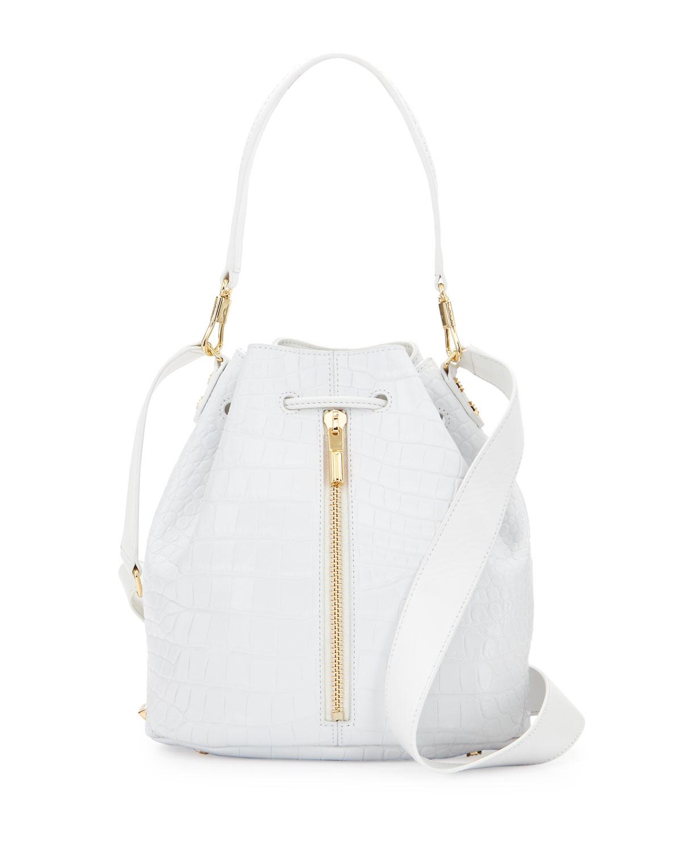 Cynnie Crocodile-Embossed Bucket Bag, White