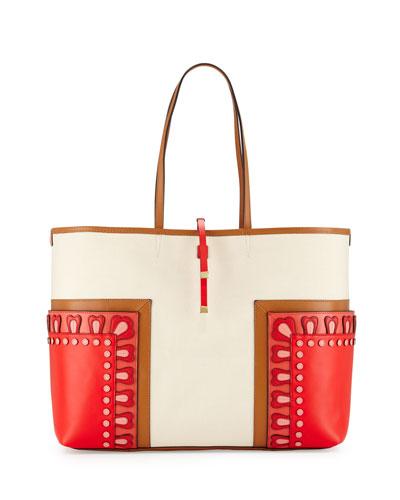 Block-T Applique Large Tote Bag, Natural