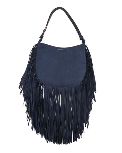 Suede Fringe Hobo Bag, Tory Navy