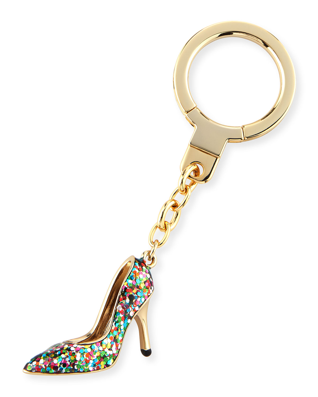 golden glitter shoe keychain