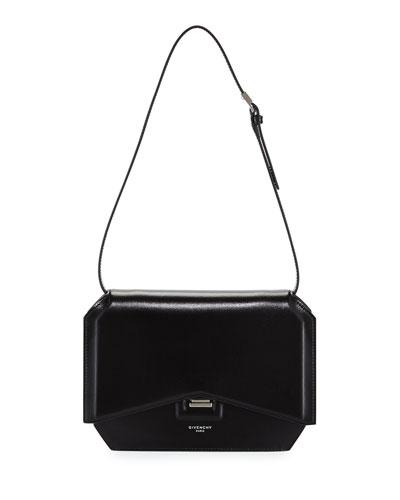 Bow-Cut Leather Shoulder Bag, Black