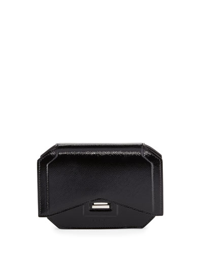 Glossy Bow-Cut Clutch Bag, Black