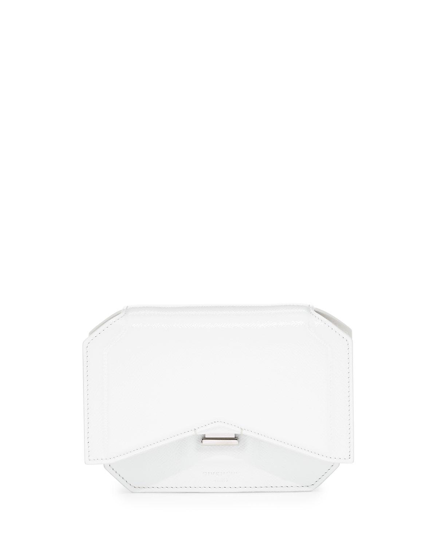 Glossy Bow-Cut Clutch Bag, White