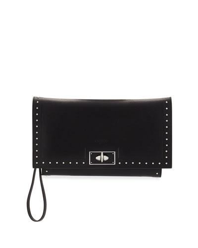 Shark Stud Calfskin Wristlet Bag, Black