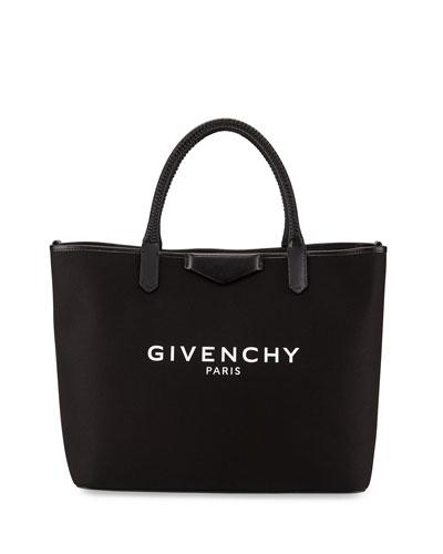 Antigona Medium Logo Fabric Shopper Bag