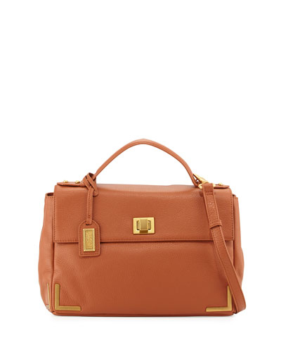 Linda Pebbled-Leather Satchel Bag, Cognac