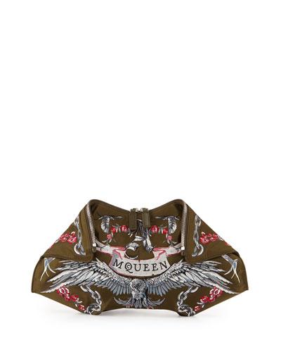 De-Manta Tattoo-Embroidered Clutch Bag