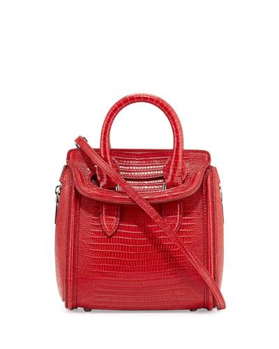 Heroine Stamped-Lizard Mini Satchel Bag, Red