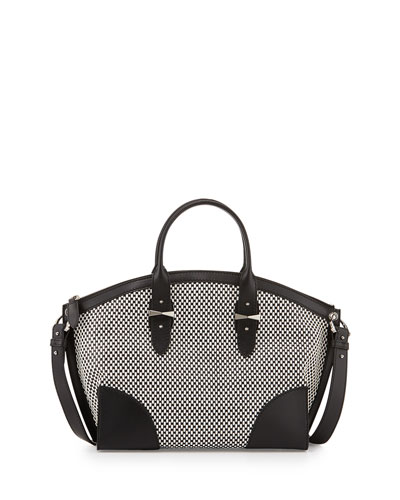 Legend Bicolor Woven Satchel Bag, Black/White