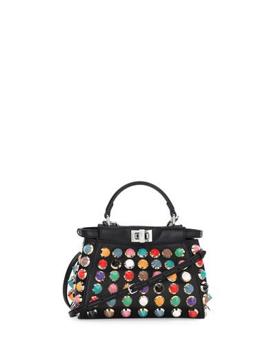Peekaboo Mini Studded Satchel Bag, Black Multi