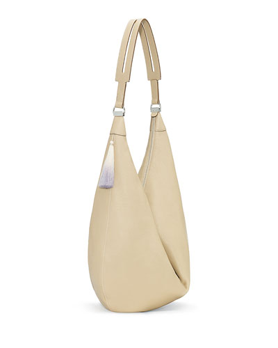 Sling 15 Grained Calfskin Hobo Bag, Heathered Stone