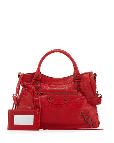 Classic City Town Lambskin Tote Bag, Red