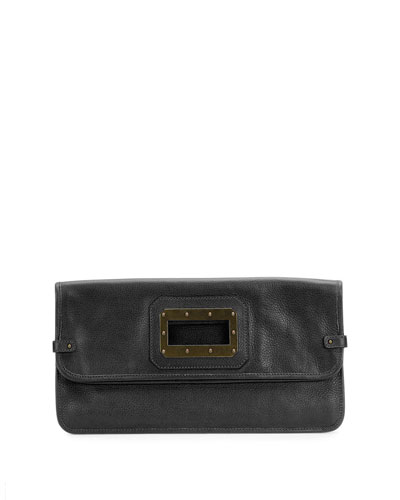 Granada Leather Clutch Bag, Black