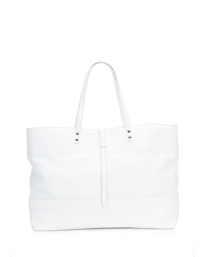 Granada Leather East-West Tote Bag, Chalk
