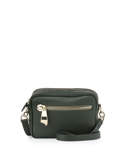 Pebbled Leather Shoulder Bag, Green