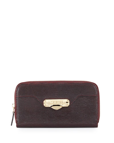 Stamped-Leather Zip-Around Wallet, Bordeaux/Black