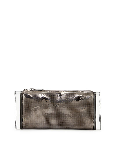 Lara Mesh Ice Clutch Bag, Steel