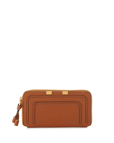 Marcie Stitched Leather Zip Wallet, Tan