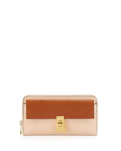 Drew Bicolor Zip-Around Wallet, Beige/Tan