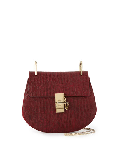 Drew Small Crocodile-Embossed Shoulder Bag, Dark Red