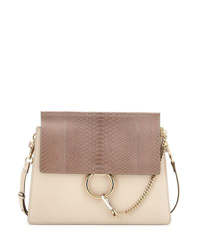 Faye Medium Python/Leather Shoulder Bag, Off White