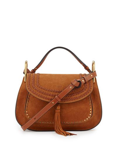 Hudson Double Carry Suede Shoulder Bag, Caramel
