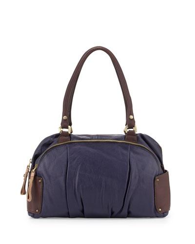 Tina Two-Tone Leather Satchel Bag, Eggplant Multi
