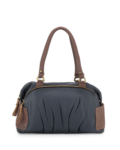 Tina Two-Tone Leather Satchel Bag, Slate Multi