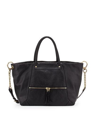 Jocelyn East-West Leather Shoulder Bag, Black