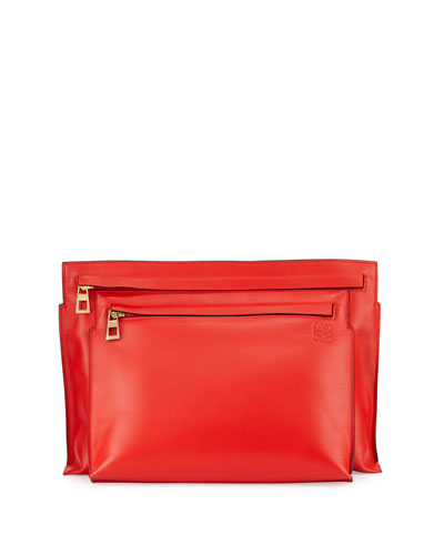 Smooth Calfskin Large Double-Pouch Crossbody Bag